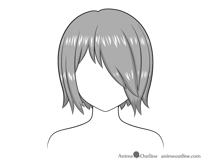 Anime hair over one eye highlights drawing