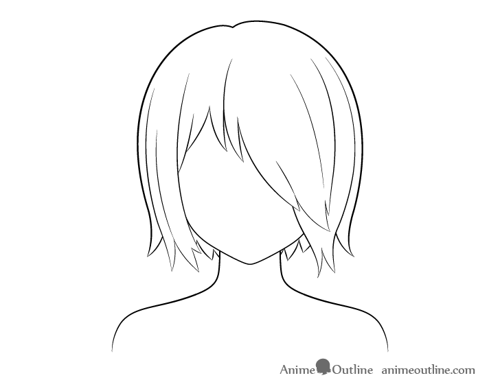 Anime hair over one eye line drawing