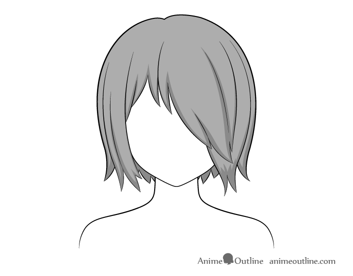 Anime hair over one eye shading