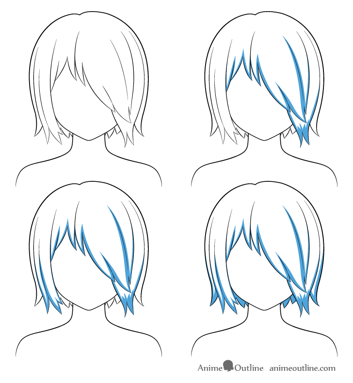 Anime hair over one eye shading steps