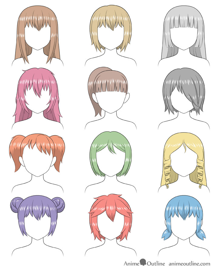 Anime different hairstyles shading