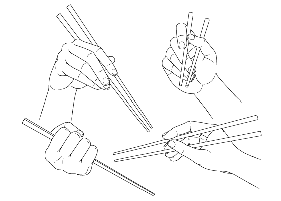 Anime hands holding chopsticks drawing