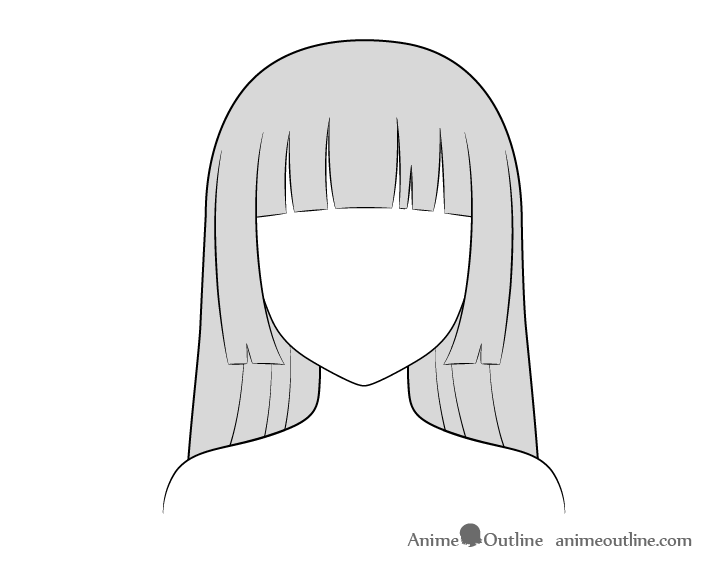 Anime hime cut hair coloring