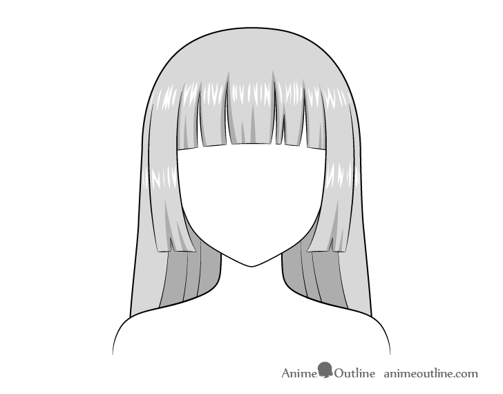 Anime hime cut hair highlights drawing