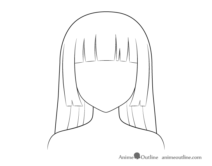 Anime hime cut hair line drawing