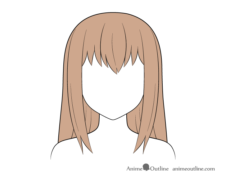 Anime long hair coloring