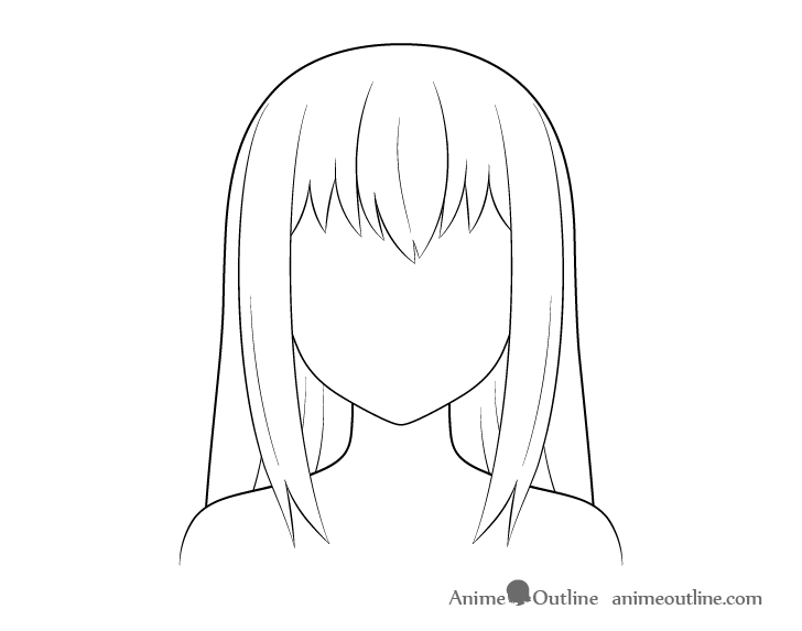 Anime long hair line drawing