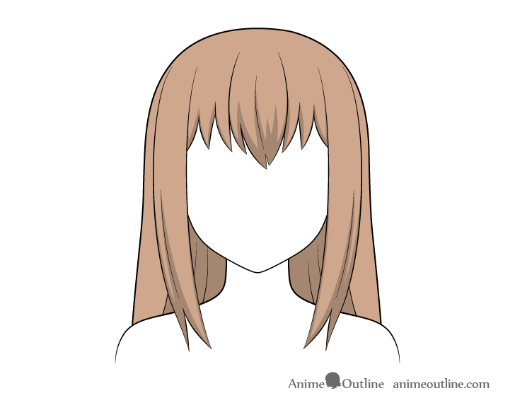 Anime long hair shading