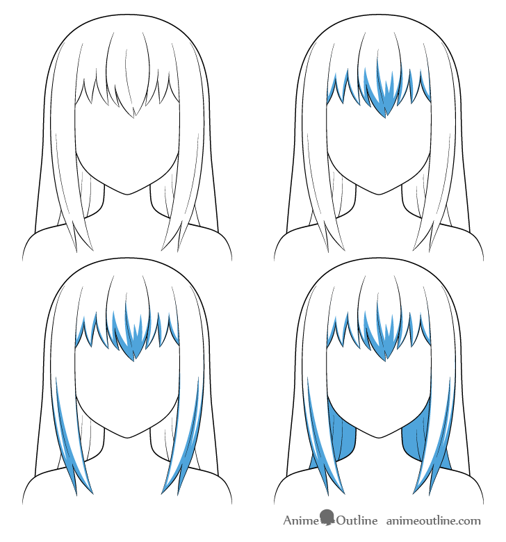 Anime long hair shading steps