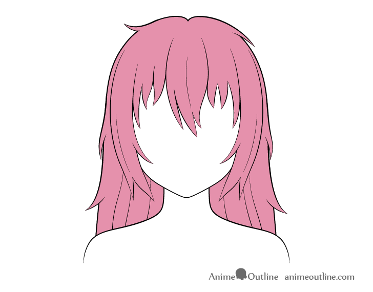 Anime long messy hair coloring