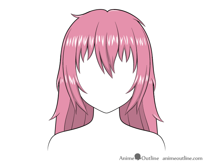 Anime long messy hair highlights drawing