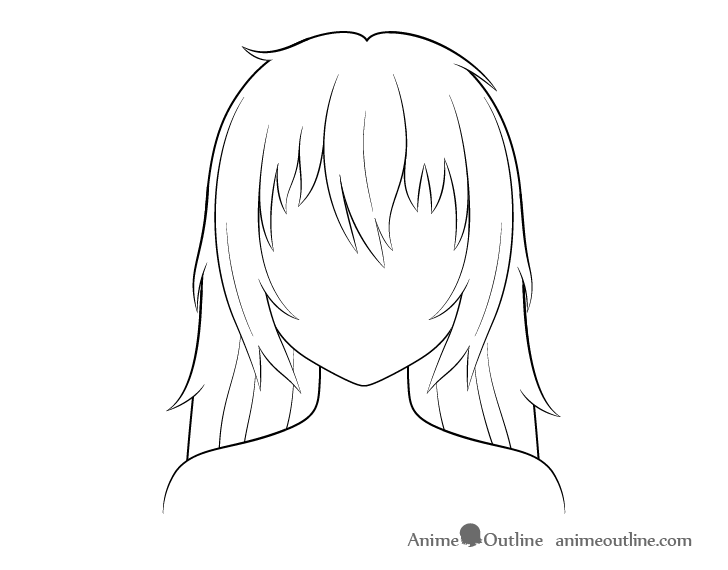 Anime long messy hair line drawing