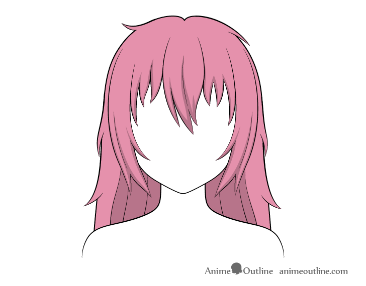 Anime long messy hair shading