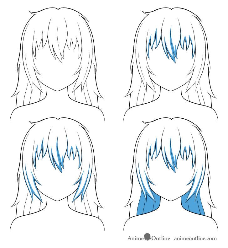 Anime long messy hair shading steps