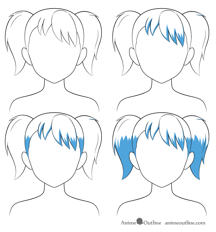 Anime pigtails hair shading steps