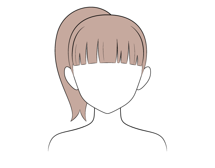 Anime ponytail hair coloring