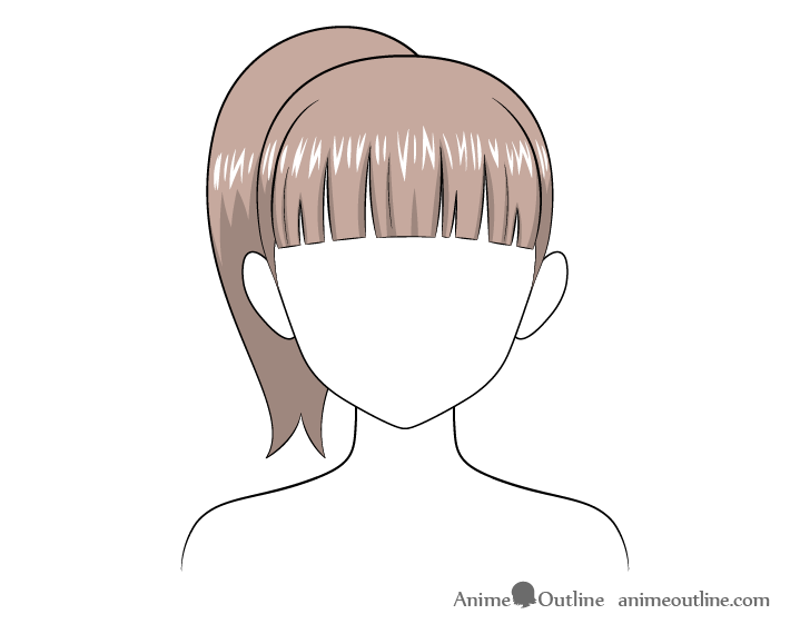Anime ponytail hair highlights drawing
