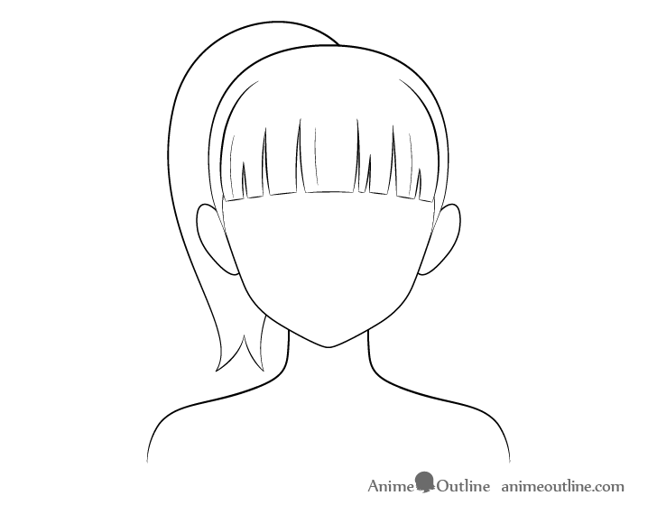 Anime ponytail hair line drawing