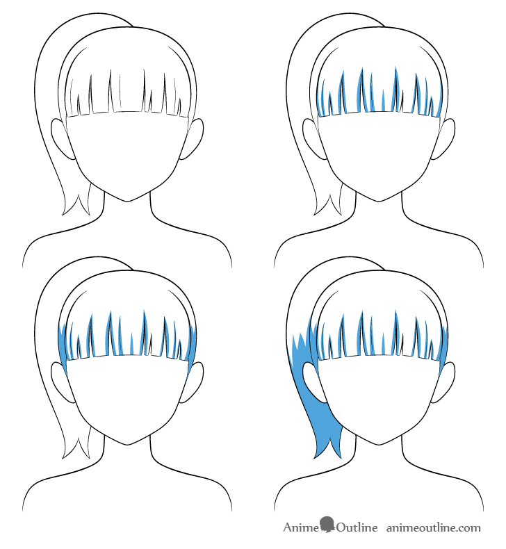 Anime ponytail hair shading steps