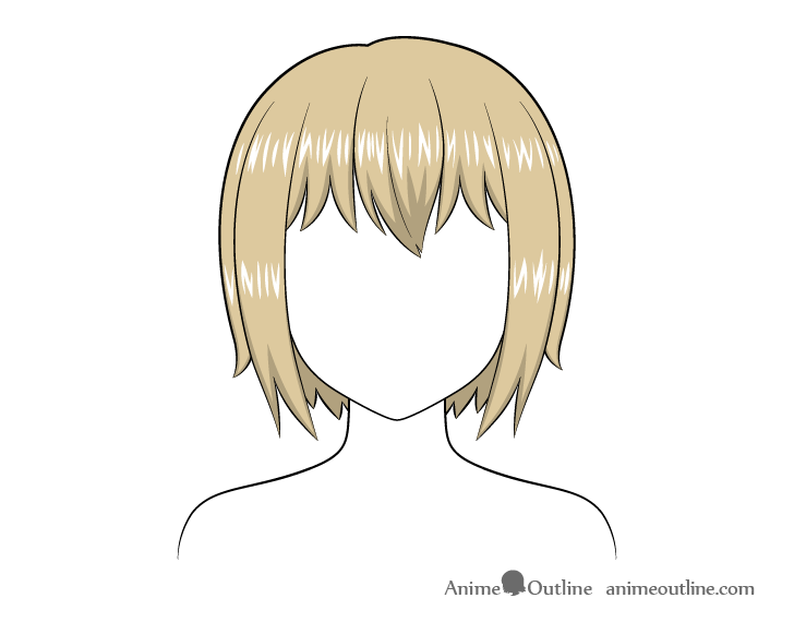Anime short hair highlights drawing
