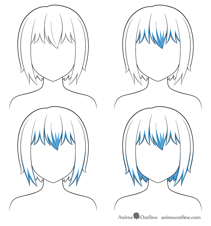 Anime short hair shading steps