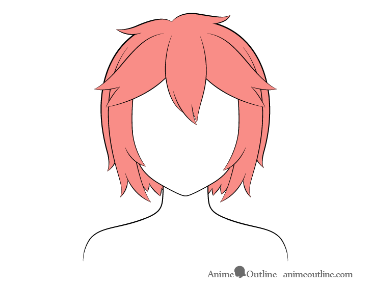 Anime short messy hair coloring