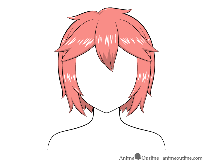 Anime short messy hair highlights drawing