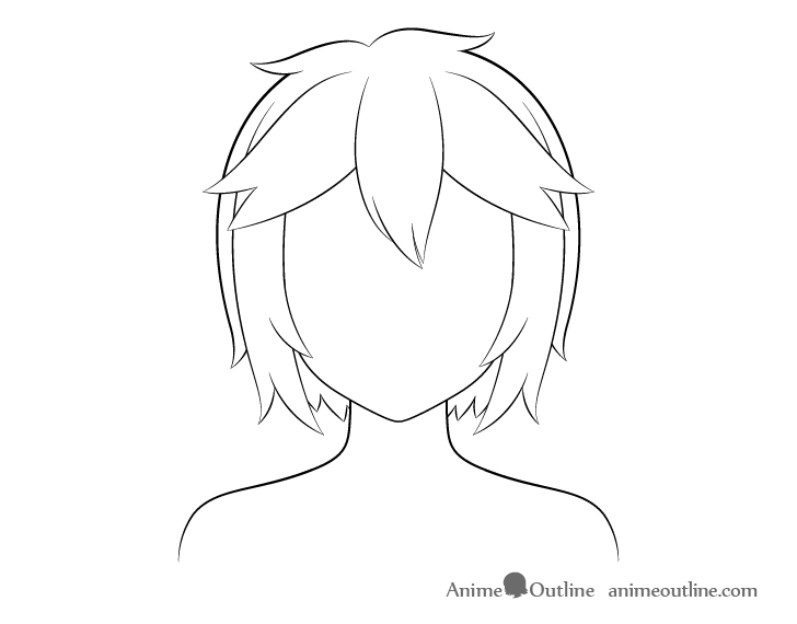 Anime short messy hair line drawing
