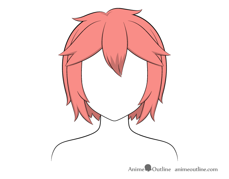 Anime short messy hair shading