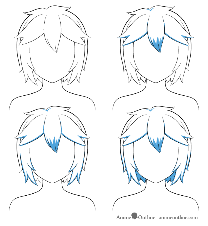 Anime short messy hair shading steps