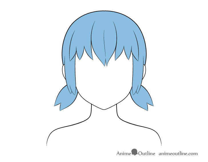 Anime short pigtails hair coloring