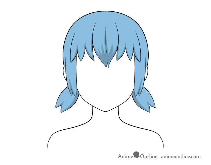 Anime short pigtails hair shading