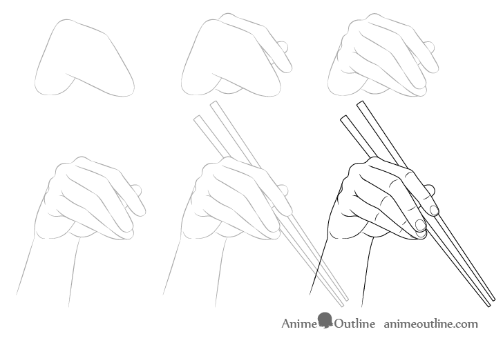 Hand holding chopsticks drawing step by step