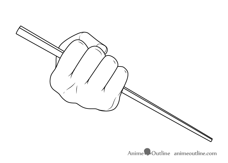 Hand holding chopsticks in fist drawing