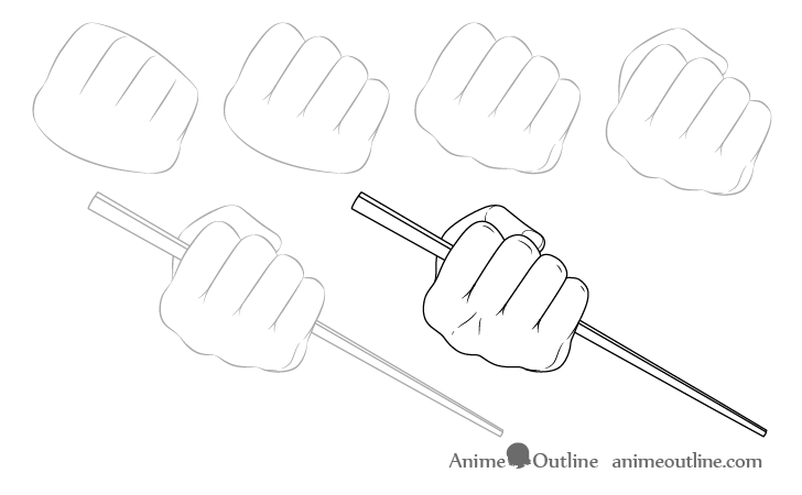 Hand holding chopsticks in fist drawing step by step