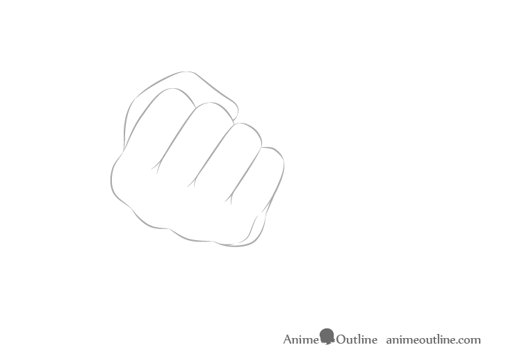 Hand holding chopsticks in fist knuckles drawing