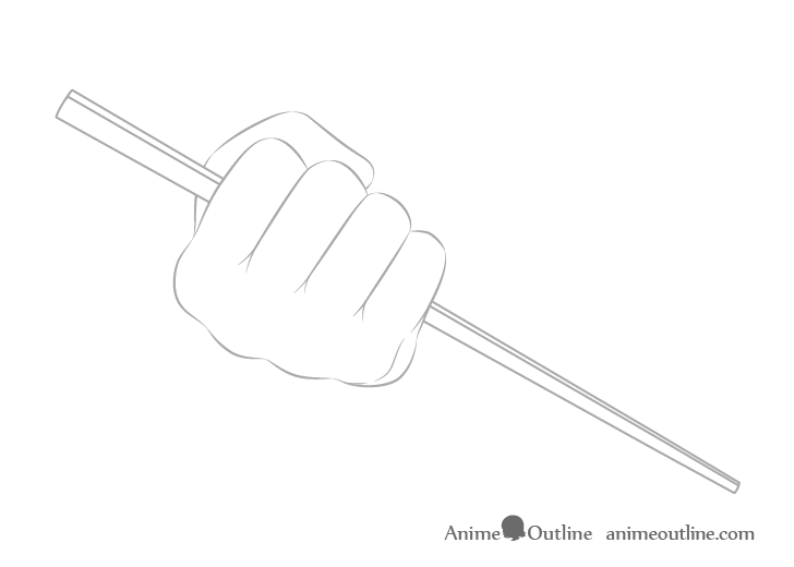 Hand holding chopsticks in fist outline drawing