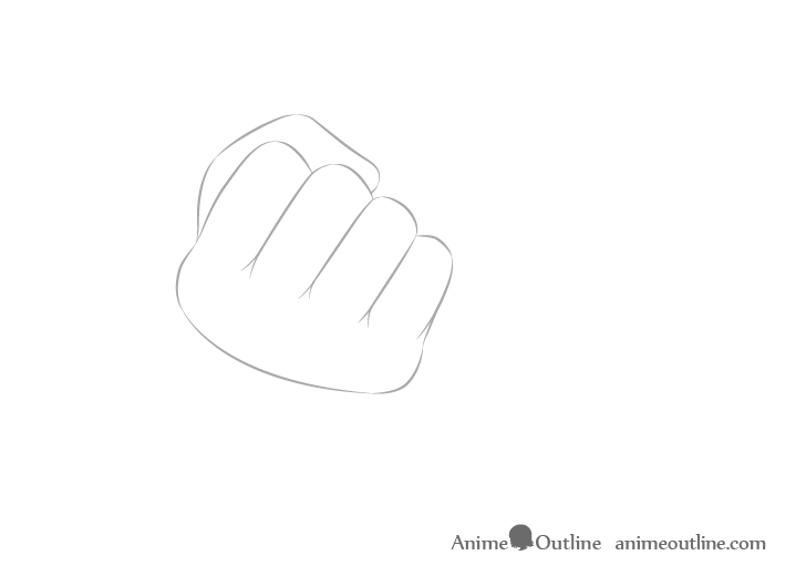 Hand holding chopsticks in fist thumb drawing