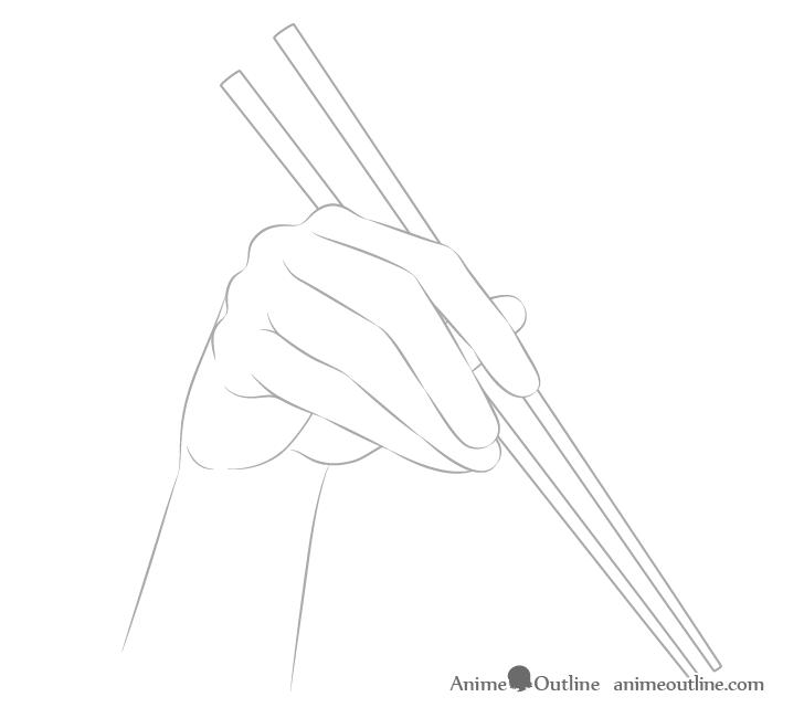 Hand holding chopsticks outline drawing