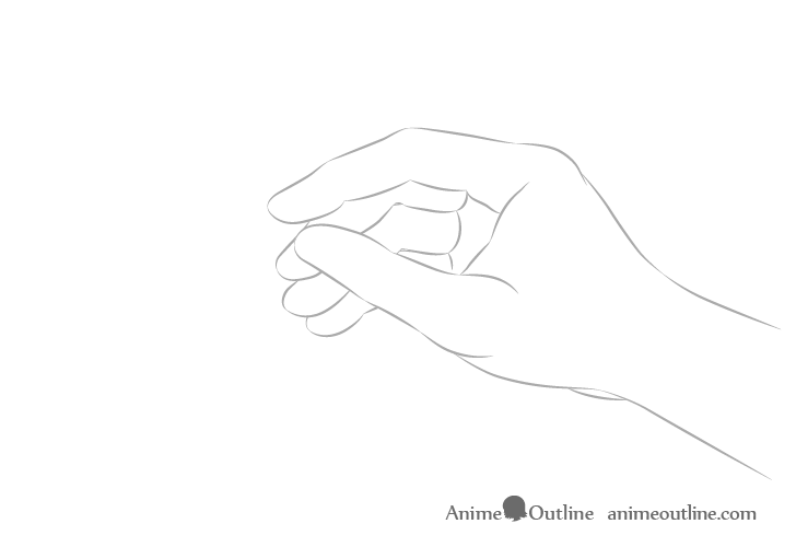 Hand holding chopsticks side view arm drawing