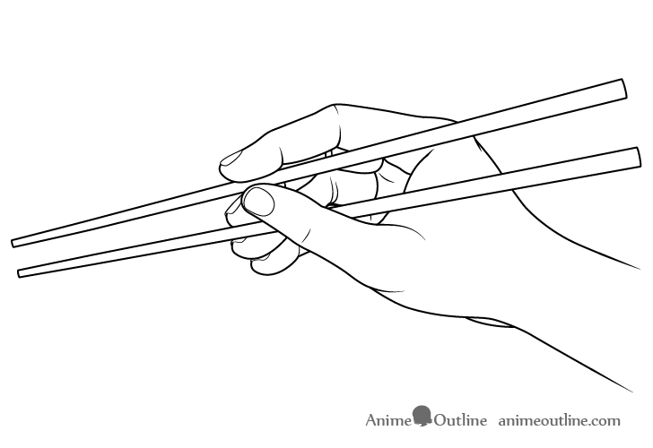 Hand holding chopsticks side view drawing