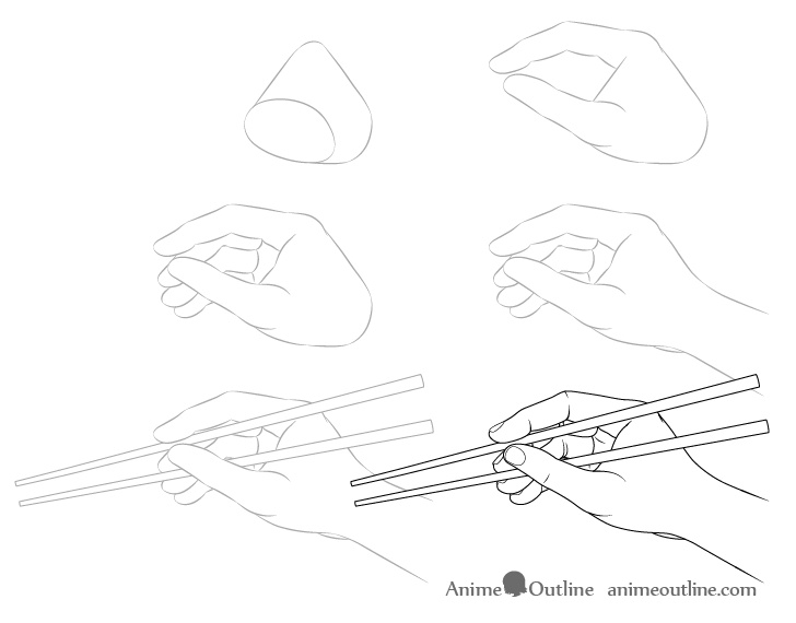 Hand holding chopsticks side view drawing step by step