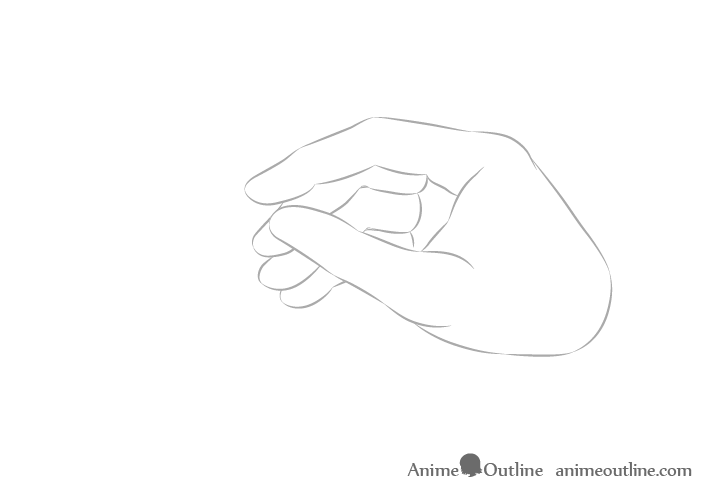 Hand holding chopsticks side view fingers drawing