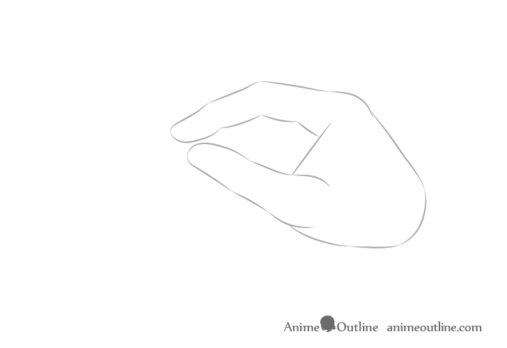 Hand holding chopsticks side view index and thumb drawing
