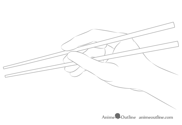 Hand holding chopsticks side view outline drawing
