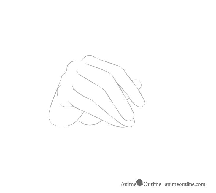 Hand holding chopsticks fingers drawing