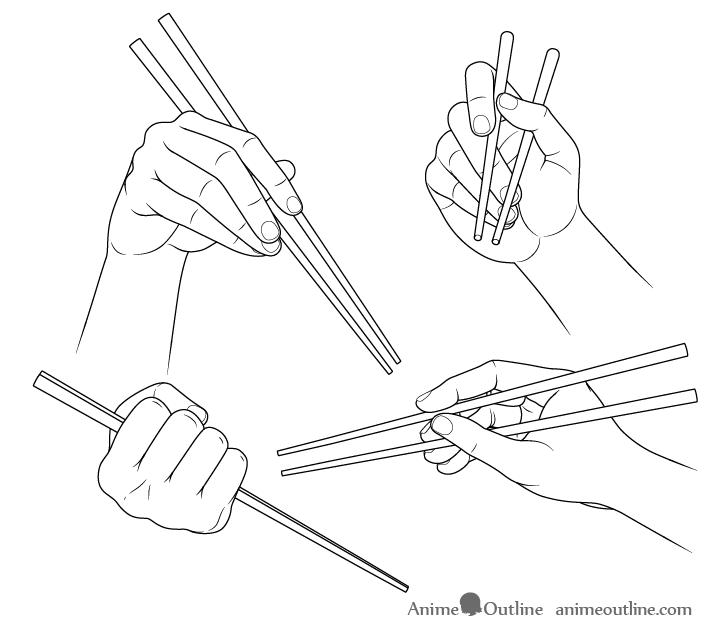 Hands holding chopsticks drawing