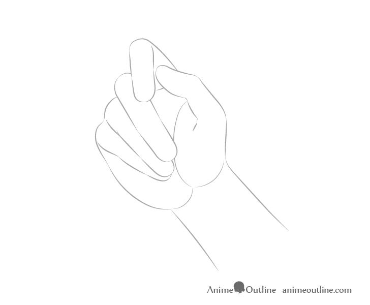 Hand holding chopsticks palm view arm drawing