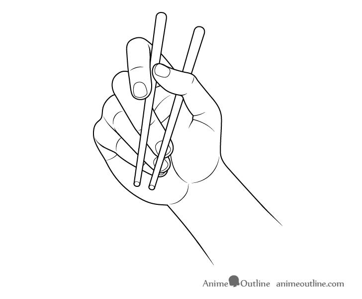 Hand holding chopsticks palm view drawing