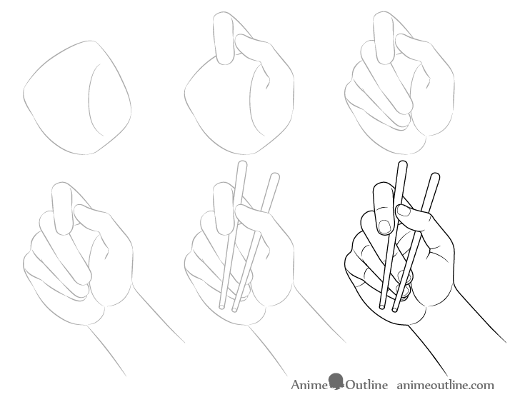 Hand holding chopsticks palm view drawing step by step